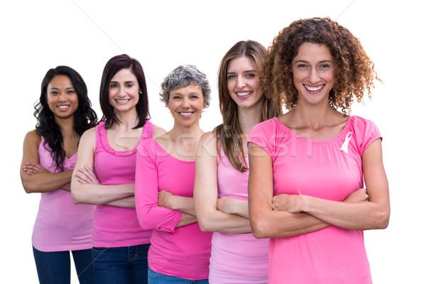 улыбаясь женщины розовый Постоянный линия груди Сток-фото © wavebreak_media