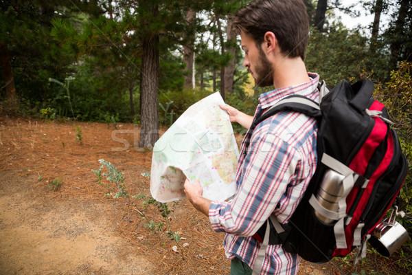 Masculino andarilho olhando mapa floresta belo Foto stock © wavebreak_media