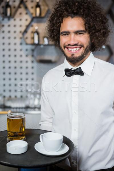 ウェイター トレイ ビール ガラス 茶碗 ストックフォト © wavebreak_media