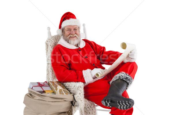 Feliz papá noel desplazamiento retrato blanco Foto stock © wavebreak_media