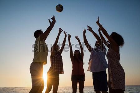 Vue amis jouer volleyball rive Photo stock © wavebreak_media