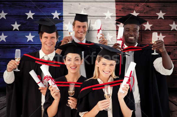 Stock photo: Composite image of group of people graduating from college