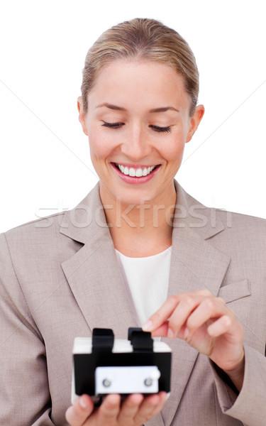 Stock fotó: Bájos · üzletasszony · keres · izolált · fehér · üzlet