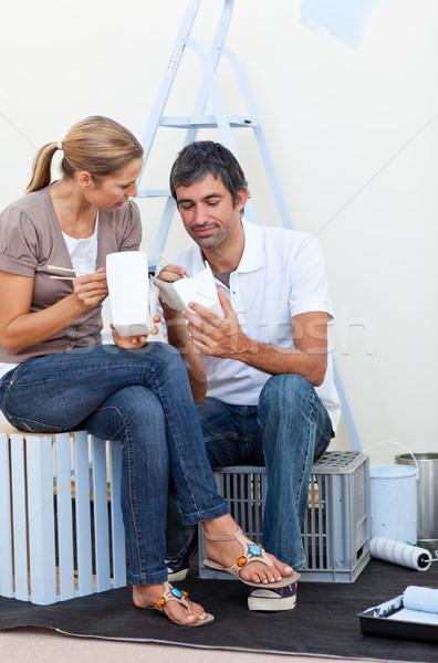 Lovers relaks szczęśliwy domu miłości Zdjęcia stock © wavebreak_media