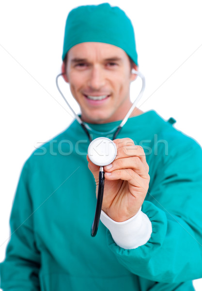 Portré lelkes sebész tart sztetoszkóp fehér Stock fotó © wavebreak_media