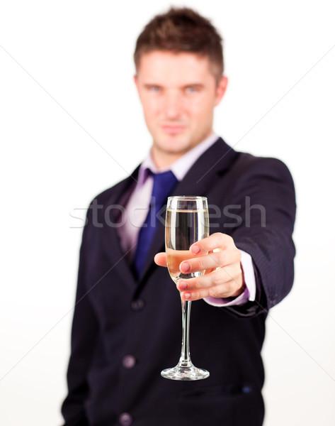 Zakenman champagne glas camera focus Stockfoto © wavebreak_media