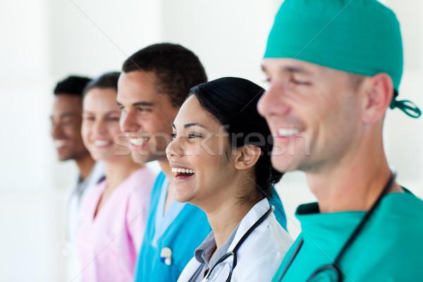 Boldog nemzetközi orvosi csapat csetepaté fehér Stock fotó © wavebreak_media