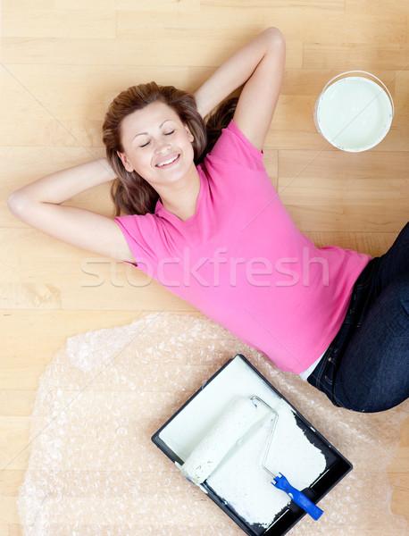 Break donna soggiorno felice home Foto d'archivio © wavebreak_media