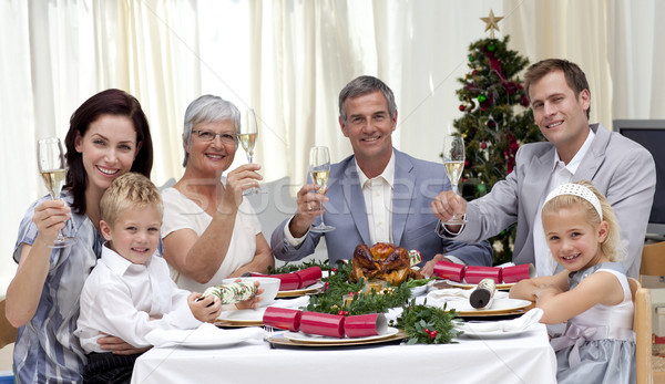 Family tusting in a Christmas dinner with white wine Stock photo © wavebreak_media