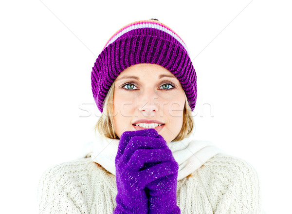 Freezed woman wearing cap and gloves against white background Stock photo © wavebreak_media