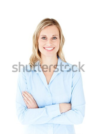 Self-assured businesswoman with folded arms smiling at the camera against a white background Stock photo © wavebreak_media