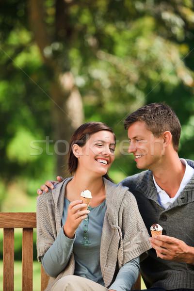 Paar eten ijs vrouw zomer groene Stockfoto © wavebreak_media