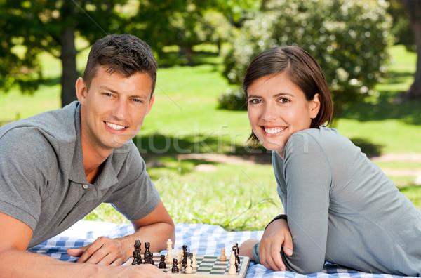 Foto stock: Pareja · jugando · ajedrez · parque · mujer · familia