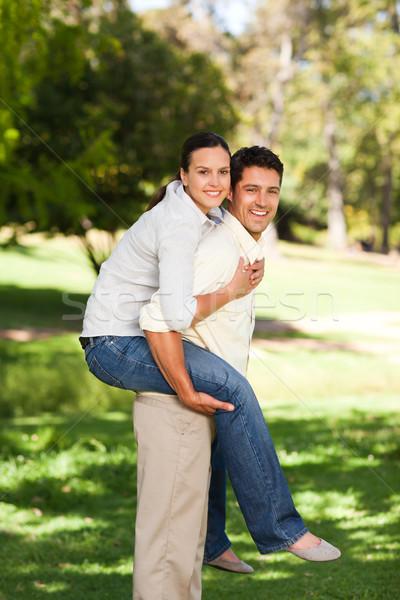 Adam eş omzunda park aile kız Stok fotoğraf © wavebreak_media
