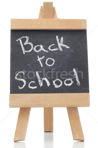 Schoolbord woorden terug naar school geschreven geïsoleerd witte Stockfoto © wavebreak_media