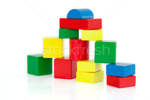 Wooden building blocks on a white background Stock photo © wavebreak_media
