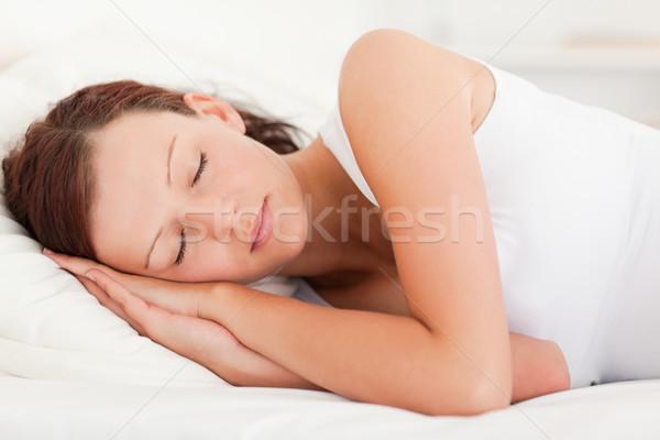 Сток-фото: спальный · красивая · женщина · спальня · дома · лице