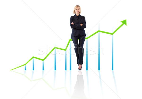 успешный улыбаясь деловая женщина растущий диаграммы счастливым Сток-фото © wavebreak_media