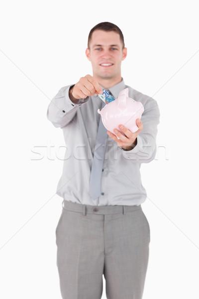 Сток-фото: портрет · бизнесмен · сведению · Piggy · Bank · белый · деньги