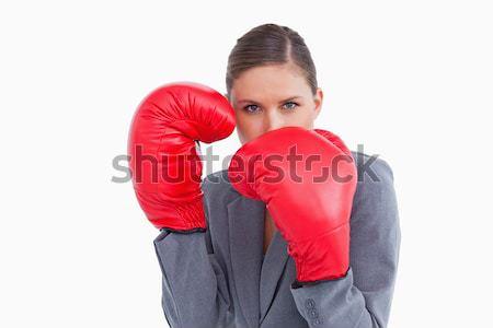 Młodych kobiet bokser biały sportu ciało Zdjęcia stock © wavebreak_media