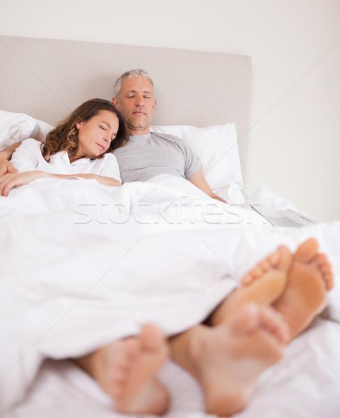 Portre çift uyku yatak odası gülümseme yüz Stok fotoğraf © wavebreak_media