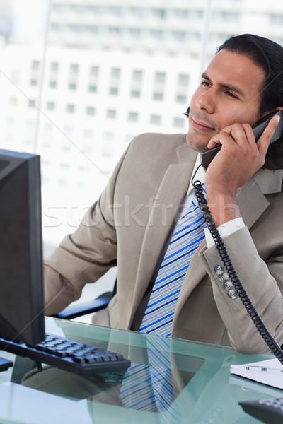 笑みを浮かべて ビジネスチーム 立って 腕 折られた 白 ストックフォト © wavebreak_media