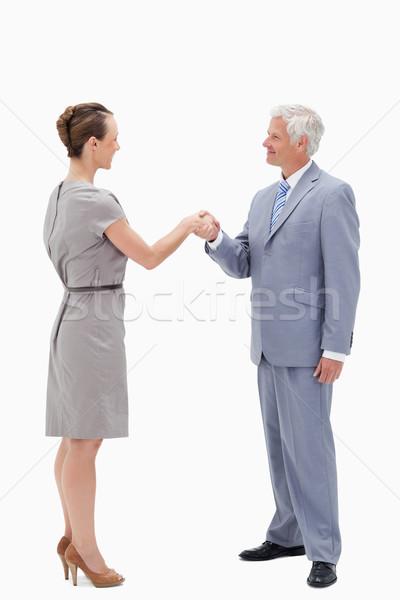 Сток-фото: белые · волосы · бизнесмен · улыбающееся · лицо · лице · рукопожатием · женщину