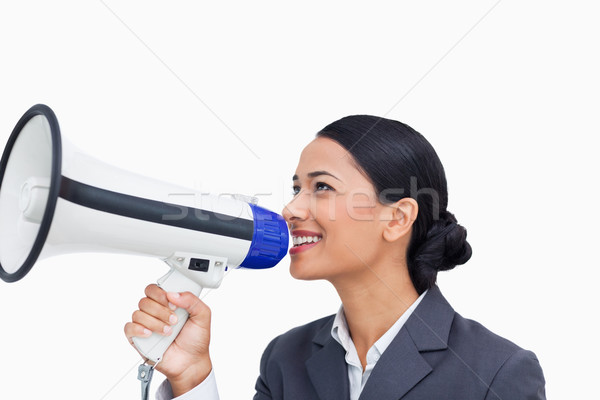 Közelkép mosolyog elarusítónő megafon fehér üzlet Stock fotó © wavebreak_media