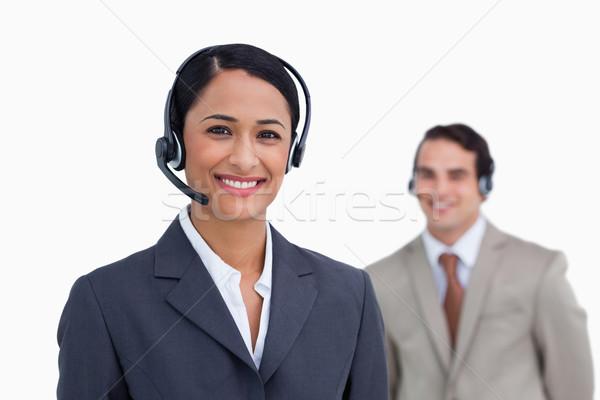 Glimlachend telefoon ondersteuning werknemer collega achter Stockfoto © wavebreak_media
