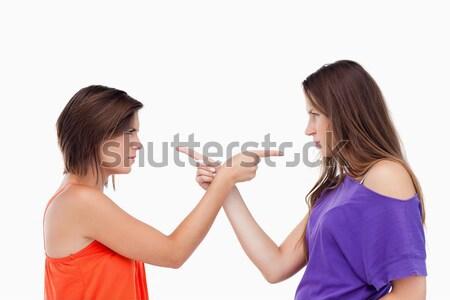 Dois adolescentes outro indicação dedos beleza Foto stock © wavebreak_media