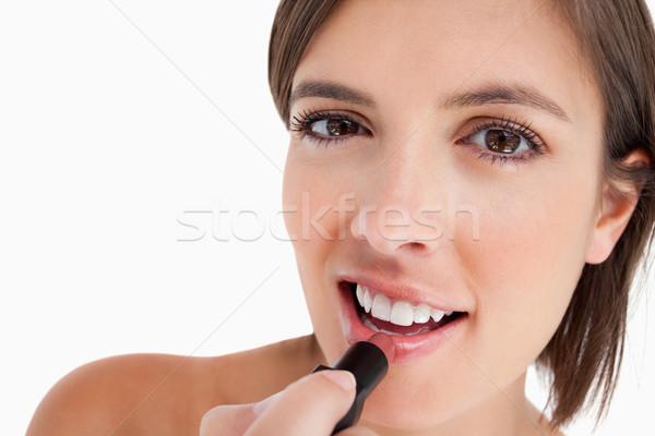 Tini jelentkezik smink rúzs mutat mosoly Stock fotó © wavebreak_media