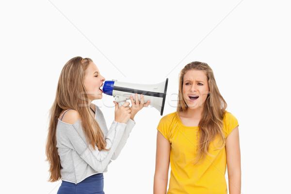 Női diák hangfal egyéb lány fehér Stock fotó © wavebreak_media