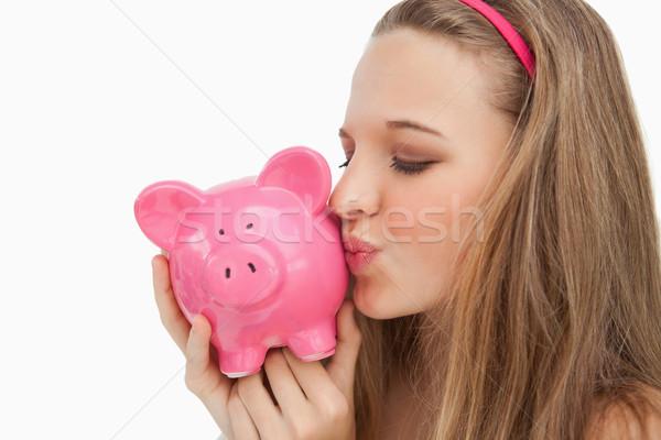 Közelkép fiatal nő csók persely fehér Stock fotó © wavebreak_media