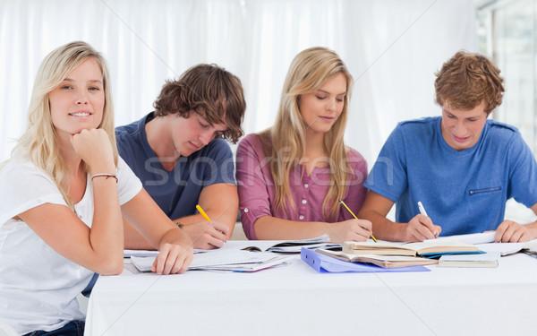 Tanulás csoport dolgozik egy lány mosoly külső Stock fotó © wavebreak_media