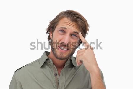 男 頭痛 触れる 頭 白 ストックフォト © wavebreak_media