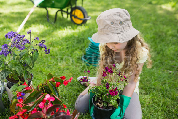 Little young girl engaged in gardening Stock photo © wavebreak_media