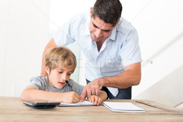Vader zoon huiswerk home liefde kind Stockfoto © wavebreak_media