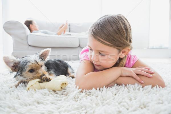 Meisje yorkshire terriër home woonkamer Stockfoto © wavebreak_media