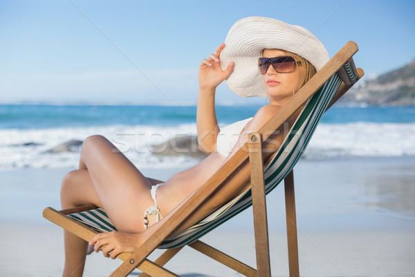 きれいな女性 リラックス デッキ 椅子 ビーチ ストックフォト © wavebreak_media