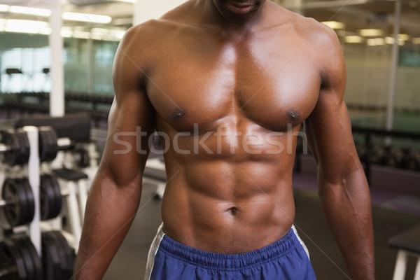 Półnagi muskularny człowiek siłowni Zdjęcia stock © wavebreak_media