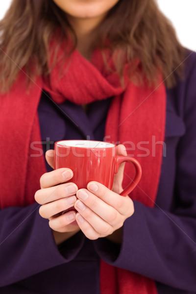 Vrouw warme kleding mok witte winter Stockfoto © wavebreak_media
