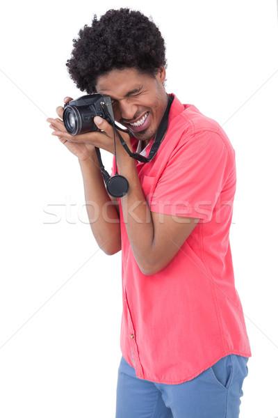 Gelukkig man foto digitale camera witte Stockfoto © wavebreak_media