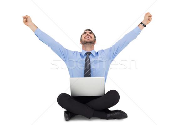 Işadamı oturma zemin beyaz bilgisayar Stok fotoğraf © wavebreak_media