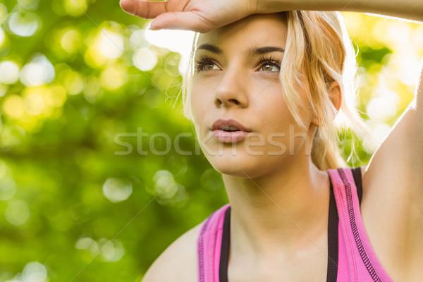 Fit blonde catching her breath Stock photo © wavebreak_media