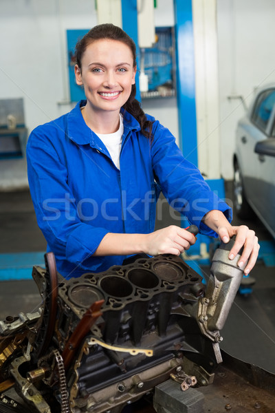 Mechaniker lächelnd Kamera Festsetzung Motor Reparatur Stock foto © wavebreak_media