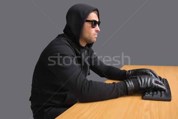 Komoly betörő hackelés laptop fehér számítógép Stock fotó © wavebreak_media