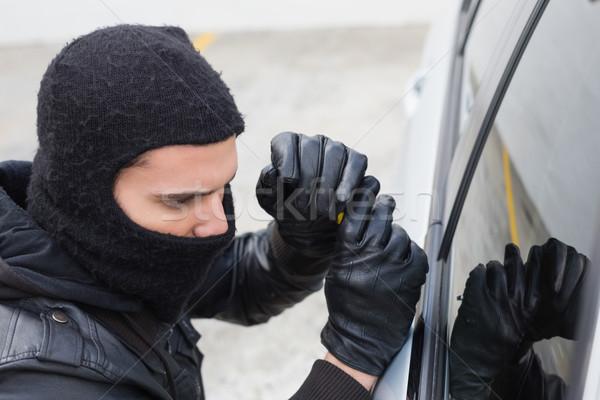 Stock fotó: Tolvaj · autó · ajtó · ablak · férfi · biztosítás