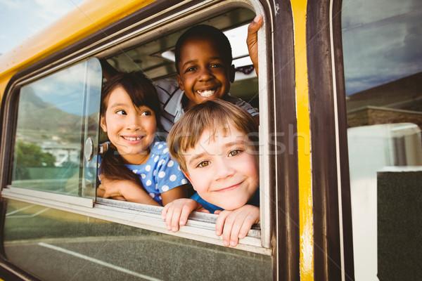 Sevimli gülen kamera okul otobüsü dışında Stok fotoğraf © wavebreak_media