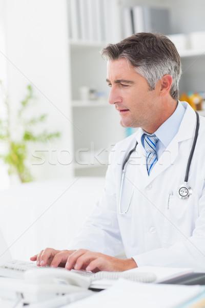 Orvos számítógéphasználat billentyűzet asztal klinika számítógép Stock fotó © wavebreak_media