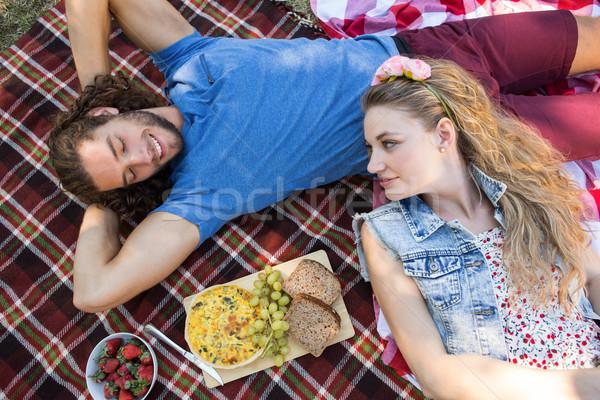 Stockfoto: Cute · paar · picknick · vrouw · man · gelukkig